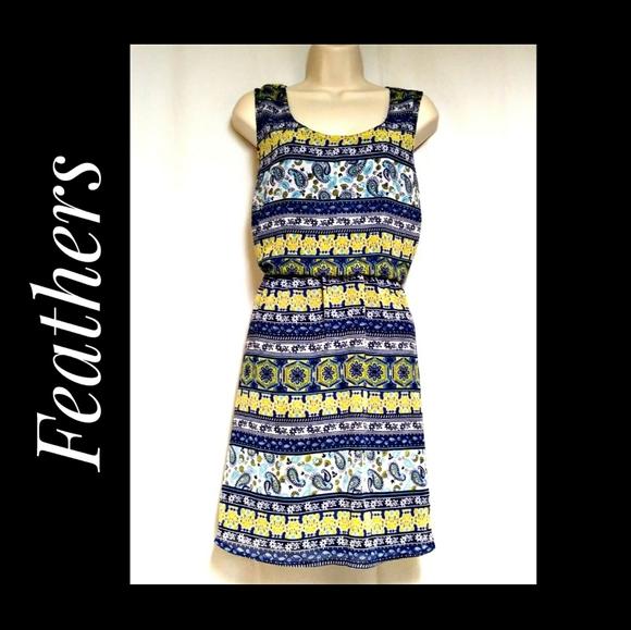 Feathers Sleeveless Dress Blue Yellow Paisley 2X